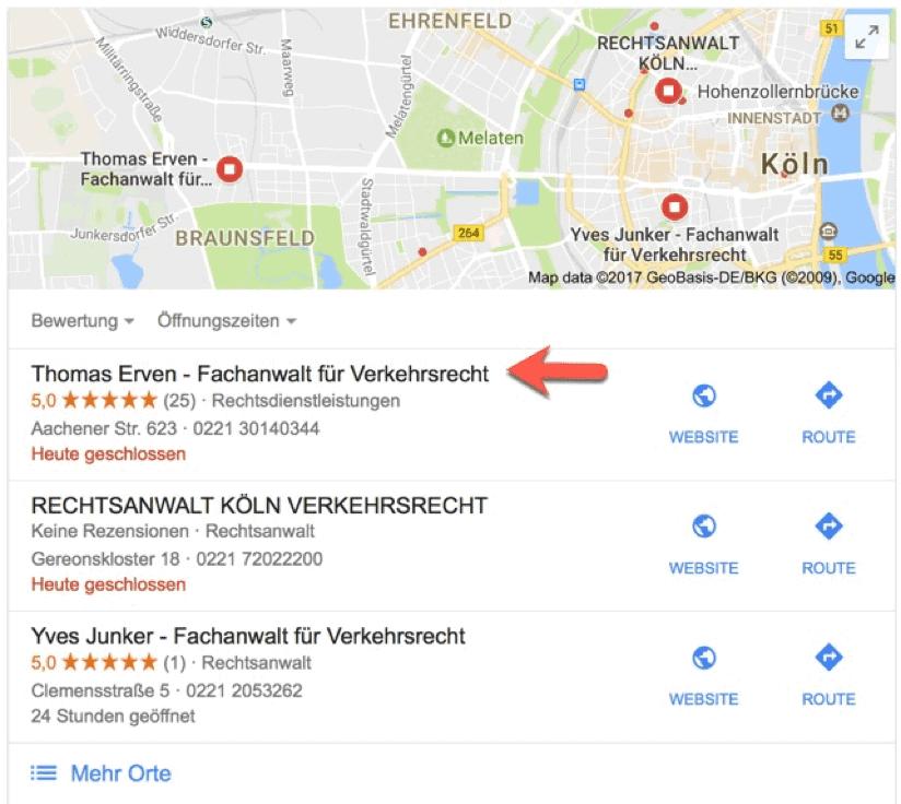 Beispiel für eine Google Bewertung