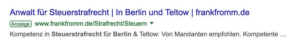 Suche anwalt steuerstrafrecht berlin